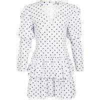 Gini London White Spot Long Sleeve Dress New Look