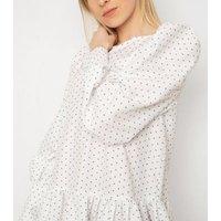 Gini London White Spot Puff Sleeve Dress New Look