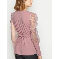 Cameo Rose Pale Pink Spot Mesh Sleeve Belted Top New Look