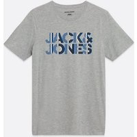 Men's Jack & Jones Grey Marl Short Sleeve Logo T-Shirt New Look
