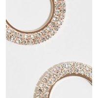 Rose Gold Premium Diamante Circle Earrings New Look