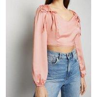 Cameo Rose Pale Pink Satin Crop Top New Look