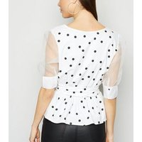 Influence White Spot Mesh Puff Sleeve Top New Look