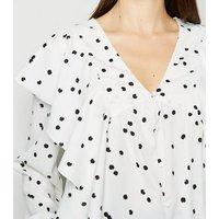Influence-White-Spot-Ruffle-Trim-V-Neck-Blouse-New-Look