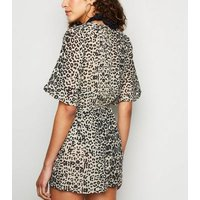 Influence Brown Leopard Wrap Beach Playsuit New Look