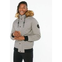 Mens Jack and Jones Grey Marl Faux Fur Hood Jacket New Look