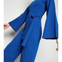 Missfiga Blue High Neck Belted Jumpsuit New Look