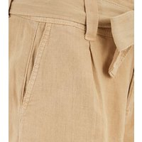 Stone Linen Blend Belted Shorts New Look