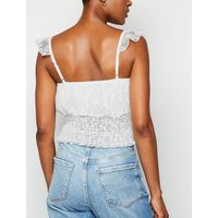 White Floral Lace Shirred Crop Top New Look