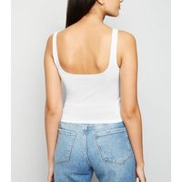 White Square Neck Corset Seam Vest New Look