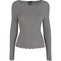 White Stripe Frill Long Sleeve Top New Look