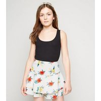 Girls White Floral Frill Hem Scuba Skort New Look