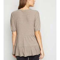 Mink Ribbed Double Peplum Top New Look