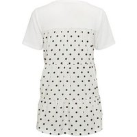 White Polka Dot Back Fine Knit Top New Look