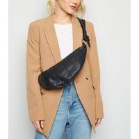 Black Leather-Look Knot Handle Bum Bag New Look