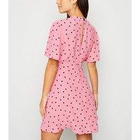 Petite Pink Spot Mini Tea Dress New Look