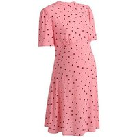Maternity Pink Spot Short Sleeve Tea Dress New Look