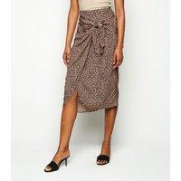 Brown Leopard Print Midi Wrap Skirt New Look