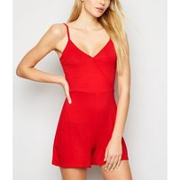 Red-Wrap-Playsuit-New-Look
