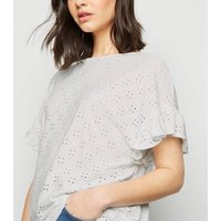 White Broderie Frill Sleeve Top New Look