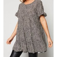 Cameo Rose Black Animal Print Smock Tunic Top New Look