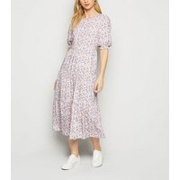 Blue Floral Puff Sleeve Tiered Midi Dress New Look