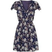 Mela Blue Floral Chiffon Wrap Dress New Look
