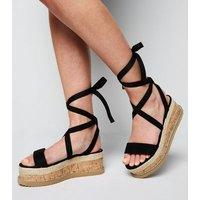 Black Suedette Ankle Tie Flatform Sandals New Look