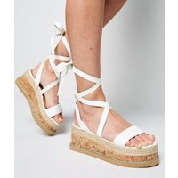 White Leather-Look Ankle Tie Flatform Sandals New Look