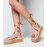 Rose Gold Leather-Look Ankle Tie Flatform Sandals New Look