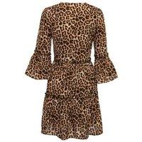NA-KD Brown Leopard Print Tiered Dress New Look
