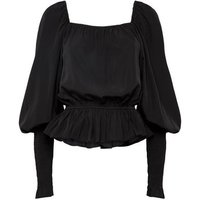 NA-KD Black Puff Sleeve Peplum Blouse New Look