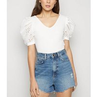 Cameo Rose White Broderie Puff Sleeve Top New Look