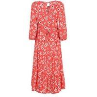 Red Daisy Spot Tiered Smock Midi Dress New Look