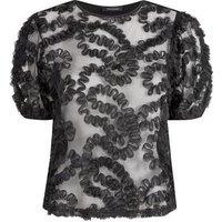 Black Squiggle Mesh Puff Sleeve Top New Look
