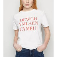 White Rugby Welsh Slogan T-Shirt New Look