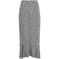 Black Monochrome Floral Ruffle Wrap Midi Skirt New Look
