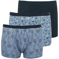 3 Pack Blue Tropical Print Trunks New Look