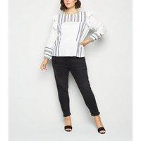 Vero-Moda-Curves-White-Tile-Print-Ruffle-Blouse-New-Look