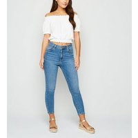 Petite White Shirred Textured Bardot Top New Look