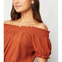 Petite-Rust-Shirred-Textured-Bardot-Top-New-Look