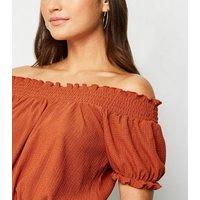 Petite Rust Shirred Textured Bardot Top New Look