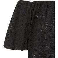 Black Broderie Puff Sleeve Bardot Top New Look
