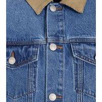 Pale Blue Cord Collar Denim Jacket New Look