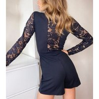 Urban Bliss Black Lace Sleeve Tie Playsuit New Look