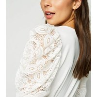 Cameo Rose White Lace Sleeve Top New Look