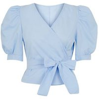 Honey Behave Pale Blue Puff Sleeve Tie Front Top New Look