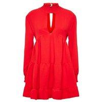 Honey Behave Red Choker Neck Dress New Look