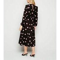 Black Spot Puff Sleeve Midi Dress New Look