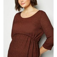 Vero Moda Curves Burgundy Stripe Textured Dress New Look